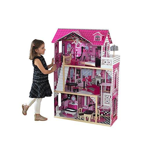 Kidkraft 65093 Casa delle Bambole in Legno Amelia per Bambole di 30 Cm con 15 Accessori Inclusi e 3...