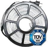 COSYLUX® LED Lichterschlauch 10m mit 240 LEDs kaltweiß, TÜV geprüft, Timer, IP44 wasserdicht, für Innen- und Außenbereich, Garten Balkon Weihnachten Hochzeit
