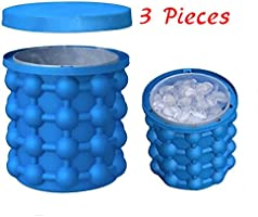 Bac à Gla?on ice cube maker genie Silicone Moules Seau à Glace Ice Cube Maker 2 en 1 Ice Cube Silicone Moules Seau à Glace Ice Cube Maker Ice Cube Navire (Bleu)