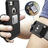 Sportarmband Universal Laufarmband Handy Halterung für iPhone X/8/8 Plus/7/7 Plus/6/6s, Samsung mit magnetischer Schnellbefestigung und elastischem verstellbarem Klettband für Joggen, Biken, Fitness
