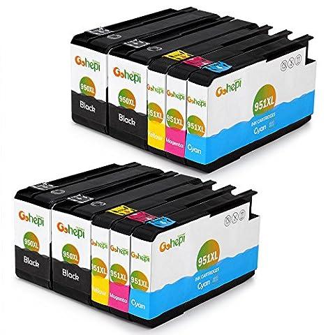 Gohepi 950XL/951XL Kompatibel für Druckerpatronen HP 950XL 951XL, 4 Schwarz/2 Blau/2 Rot/2 Gelb 10er-Pack Arbeit mit HP Officejet Pro 8620 8610 8600 Plus 276dw 8100 8615 251dw 8625 8660 8640 8630 Patronen