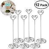 UEETEK 12pcs Heart Shape Table Number Holders Name Card Holders Memo Clip
