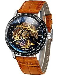 Alienwork IK Reloj Automático esqueleto mecánico Piel de vaca negro marrón 98226-22