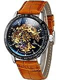 Alienwork IK Automatik Armbanduhr Herren Damen Uhr Leder Armband Lederarmband Lederband braun Automatikuhr Herrenuhr Damenuhr silber schwarz