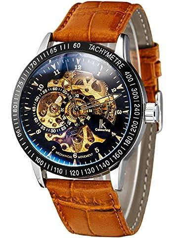Alienwork IK mechanische Automatik Armbanduhr Skelett Automatikuhr Uhr Herren Uhren