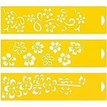 30cm x 8cm (Juego de 3) Stencil Plantilla Plástico Reutilizable para Decoración Pasteles Paredes Tela Muebles Manualidades Arte Artesanía Diseno Gráfico Dibujo Técnico - Caribe Flores Florido Cinta