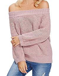 VJGOAL Mujer Otoño E Invierno Moda Casual Breve Color sólido Top Manga Larga Sexy Hombro sin Tirantes Un Collar de Palabra Suéter de Punto Blusa Jersey