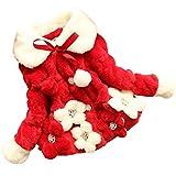 M&A Mädchen Wintermantel mit Pelzkragen- in verschiedenen Designs, Rot, Gr. 104/110, (Herstellergröße: 11)