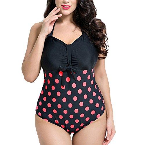 Neck Schwimmen Kostüm Padded Beach Wear Vintage Badeanzug Polka Dot Swimdress Für Mädchen Lady Seaside Spa Beach Baden,Red-UK28/EU56 ()