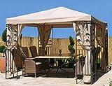 Seitenwand Set 4tlg zu Blätter Pavillon 3x3m mit Moskitonetz Sand