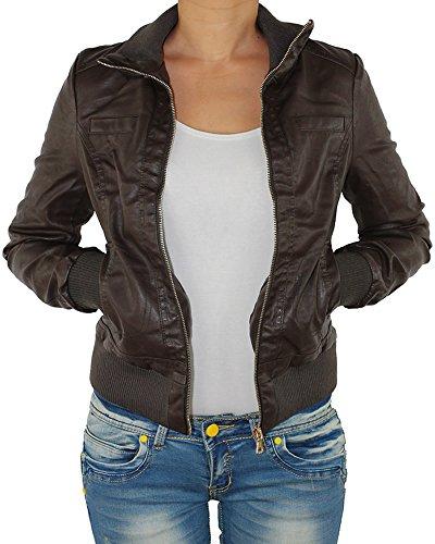 Damen Lederjacke Kunstlederjacke Leder Jacke Damenjacke Jacket Bikerjacke Blouson in vielen Farben S - 4XL Schoko 4XL