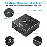 HDMI Switch - Techole HDMI Splitter Bidirectional 1 In 2 Out/2 Input 1 Output - Supports 4K 3D HD 1080P - Manual HDMI Switcher for Xbox, PS4, PS3, Roku, Blu-Ray player, DVD, HDTV, Plug & Play.