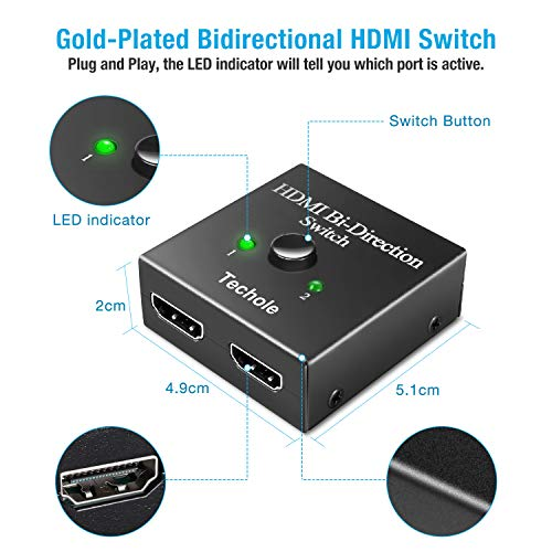 HDMI Switch - Techole Bidirectional HDMI Splitter 1 In 2 Out /2 Input 1 Output - Supports 4K 3D 1080P HD, Plug & Play - Manual HDMI Switcher for Xbox, PS4, PS3, Roku, Blu-Ray player, DVD, HDTV