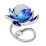 FORFOX Anillo Flor de Loto Esmalte de Plata de Ley 925 Vintage con Jade...