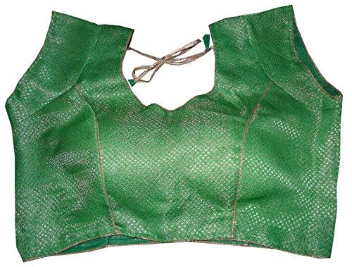 Bigfashionshop Women's Designer Blouse Brocade Silk Green Golden Stitched Padded Choli Medium  available at amazon for Rs.499