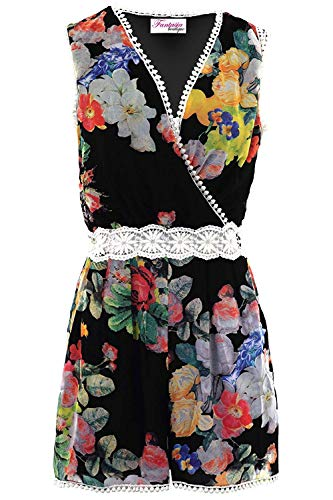 Fantasia Boutique Femmes sans Manches Enveloppant Col V Floral Dentelle Crochet Mousseline Doublé Combishort Barboteuse - Noir, 38