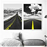 YIYAOFBH Wandkunst Leinwand Malerei Interstate Highway Foto Poster Schwarz Weiß Leinwandbilder Für Wohnzimmer Decor-60x80cm Kein Rahmen