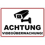 Schild Achtung Videoüberwachung aus Alu / Dibond 200x140 mm - 3 mm stark