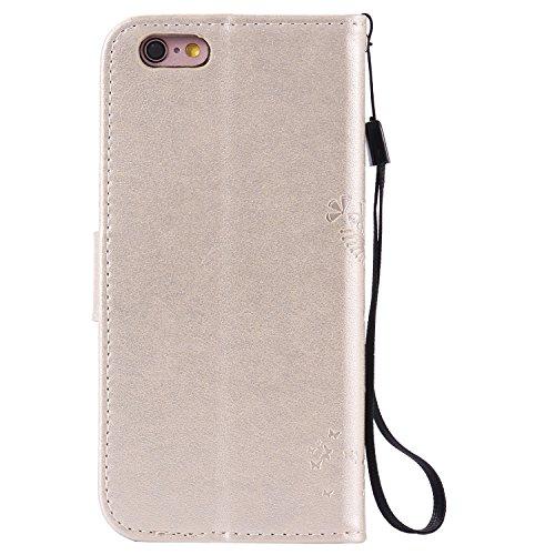 JAWSEU iPhone 6/6S 4.7 Custodia in Pelle Portafoglio Cover per iPhone 6 6S Custodia, Lusso 3D Modello Puro Colore PU Leather Folio Case Cover per iPhone 6 4.7 Custodia Cover con Super Sottile Morbido  Oro