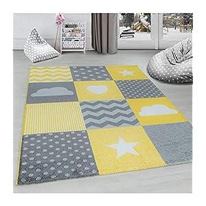 Gut Carpettex Teppich Kinderteppich Kinderzimmer Kariert Wolken Sterne Herz  Grau Gelb Weiß   120x170 Cm