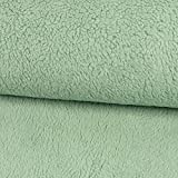 Stoffe Werning Baumwoll-Teddystoff Uni Mint Plüschstoff