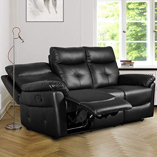 Leisure Zone ® Luxury PU Black Leather Sofa Recliner Set Loveseat Set Sofa Recliner Sofa Suite Lounge Couches Sets Armchair Different Configurations Available for Home Lounge Living Room 2 or 3 Seater Sofa (3-seater sofa)