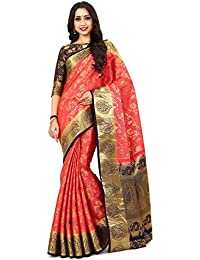 Mimosa By Kupinda Women's Art Silk Saree Kanjivaram Style Color : Strawberry (4164-260-2D-STR-NVY)