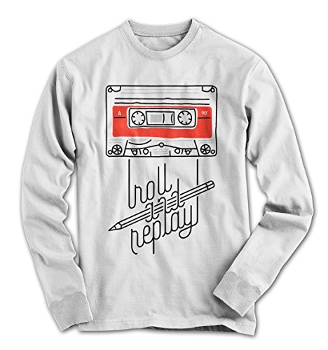 Herren Longsleeve T-Shirt Vintage Roll and Replay Kassette 80´s Musikkassette Weiß