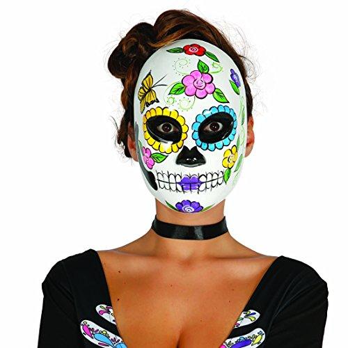 Sugar Skull Maske Mexikanische Totenmaske Motiv Frau Totenkopfmaske Tag der Toten La Catrina Todesmaske Halloween Mexican Skull Calavera Gesichtsmaske Dia de los Muertos (Tag Der Toten Frau Maske)