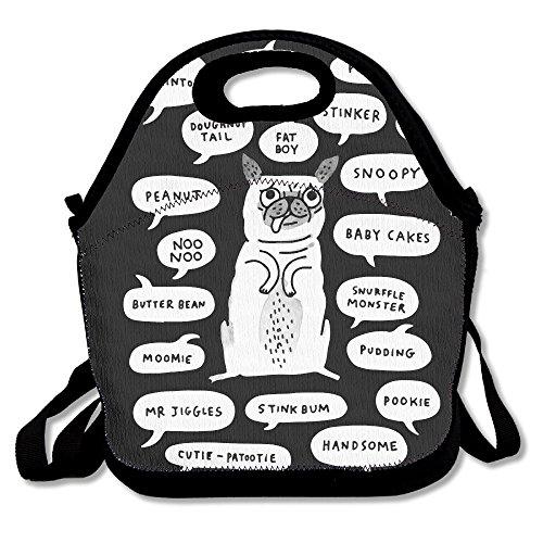 Un carlino s guide to etiquette lunch bag tote borsetta portapranzo per scuola lavoro all' aperto