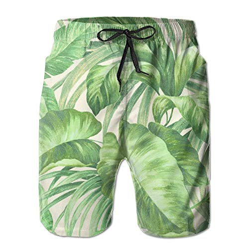 cleaer Mens Green Palm Tree Quick Dry Swim Trunks Beach Shorts with Mesh Lining Large - Palm Tree Swim Trunks