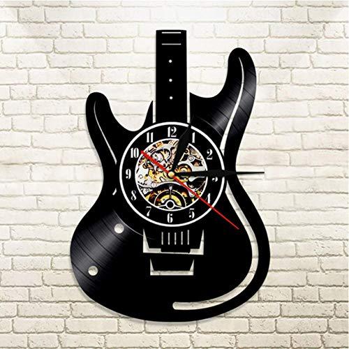 Yrtdf Reloj De Pared Forma De Guitarra Vinyl Record Reloj De Pared 3D Tema De Diseño Moderno Relojes Colgantes Vintage Reloj De Pared Decoración para El Hogar Regalos para Guitarrista