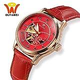 Damen Uhren, Luxus Analoge Mechanisch Damen Armbanduhr,Wasserdichte Lederband Edelstahl Mechanischuhr, Uhren dünne Armbanduhr,Business Uhren (AVI)