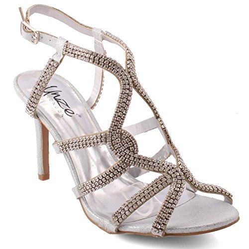 Unze Neue Damen Damen 'Belaa' Diamante verschönert Ankle Strap Peep Toe Mid High Heel Abend, Hochzeit, Prom Party Schuhe Größen 3-8 - FEE1020-7 Ankle Strap Peep Toe Sandalen