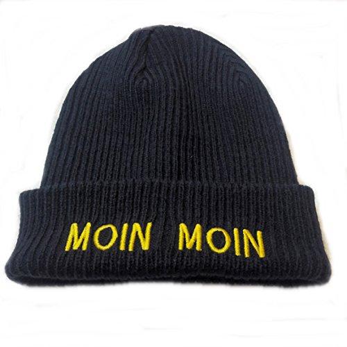 Preisvergleich Produktbild Unbekannt Strickmütze Moin Moin,  die Dicke & Warme ! Dicke warme dunkelblaue Mütze mit gelben gesticktem Schriftzug
