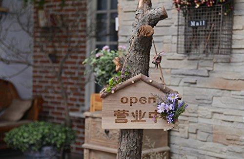Buzede SmallHouse Holz ÖFFNEN Zeichen mit Lila Blume für Shop Cafe Bar Shop Mall Tür Fenster Dekorative Offene Hängende Schild (Blumen Led-zeichen)