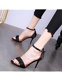 YMFIE In stile europeo estate tacco alto scarpe moda donna sexy rivetti toe toe sandali,36 EU,Rosa