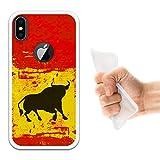 iPhone X Hülle, WoowCase Handyhülle Silikon für [ iPhone X ] Spanien Flagge und Stier Handytasche Handy Cover Case Schutzhülle Flexible TPU - Transparent