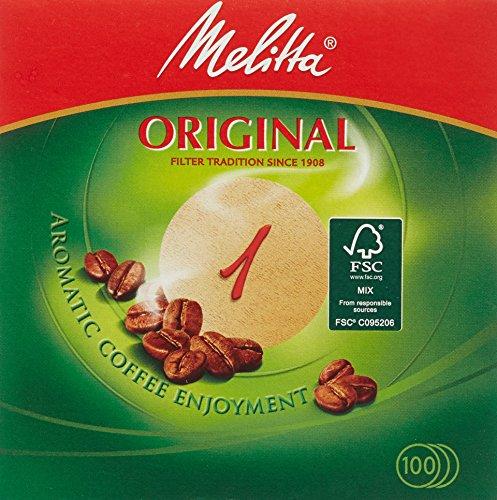 Melitta Rundfilterpapier 1 naturbraun, 5er Pack (5 x 1 Stück)