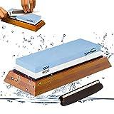 Abziehstein Schleifstein Set Wetzstein mit 1000/6000 Körnung für Messer mit Gummi-Steinhalter sowie Bambus Basis und Messer-Halter