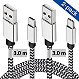 USB C Cable 3M, 2 Pack Type C Charging Cable 10ft Certified Nylon Braided Charging Cable Compatible For Samsung S10/S9/S8 Plus/Note 8, Huawei P30/P20/P10, Pixel, MacBook, Nintendo Switch etc
