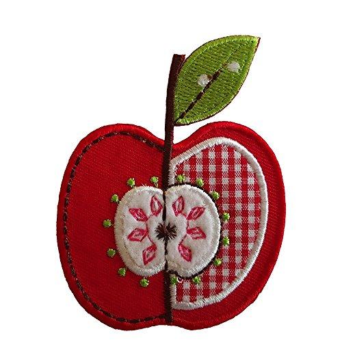 TrickyBoo 2 Aufbügler Apfel 6X8cm Freches Monster 7X6cm Set Aufnäher Flicken Applikationen zum Ausbessern von Kinder Kleidung mit Design...