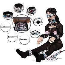Juego de BDSM Bondage, traje de ocho piezas de piel de serpiente, muñequeras de