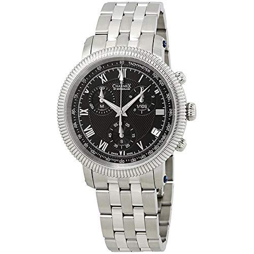 Charmex Men's President II 42mm Steel Bracelet Quartz Black Dial Watch 2996