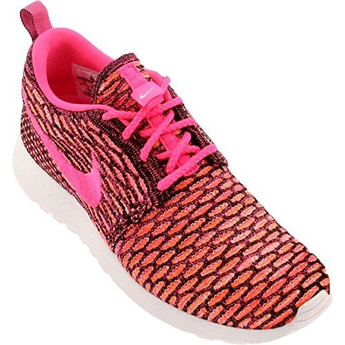 Nike Roshe Flyknit, Chaussures de running entrainement femme Black/Pink Pow/White/Total Orange