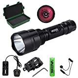 "C8 850NM LED Infrared Torch � Outdoor IR Flashlight - Compact Plane Mirror Infrared Illuminator + Recharge Battery + Charge + Remote Pressure Switch+ 1"" Scope Ring Set, Low Profile (All-in-One Kit)"