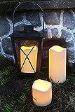 Kamaca Outdoor LED Kerzen im 3er Set batteriebetrieben inkl. Timer Kerze flackernd für Innen und Außen Bereich Outdoor (3er Set Outdoor Kerzen Amber)