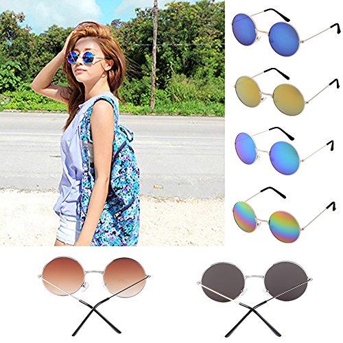 Man9Han1Qxi Männer Frauen Punk runde linse Brillen Sonnenbrillen Outdoor Sports gläser Geschenk Anti uv Sonnenbrille Multi-Color