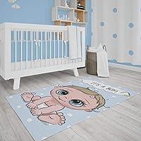 Çocuk Odası Oyun Halısı, Kaymaz Tabanlı Halı ve Kilimler, Bebek Desenli Erkek Çocuk Odası Halısı, Bebek Odası Halısı (80x120 cm)