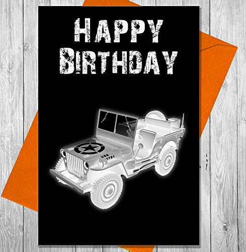 Geburtstagskarte Armee Jeep-Einzigartiges Kreidetafel Effekt Grußkarte